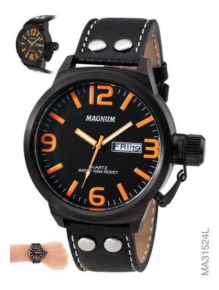Relógio Military Magnum Pulseira Em Couro Ma31524l Original