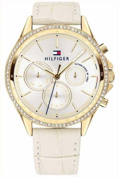 Relógio Feminino Tommy Hilfiger Couro Bege -1781982 Original