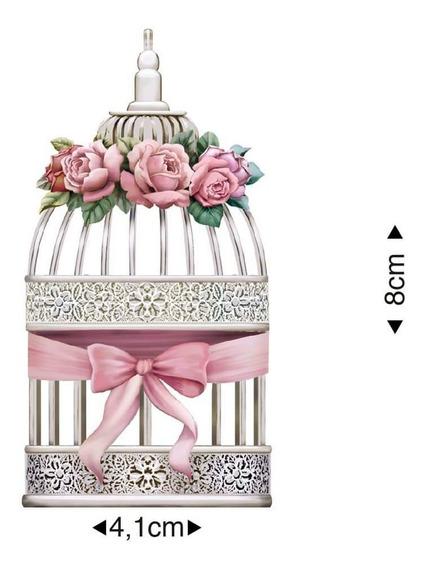 Aplique Decoupage Gaiola E Rosas Apm8-602 8cm Litoarte