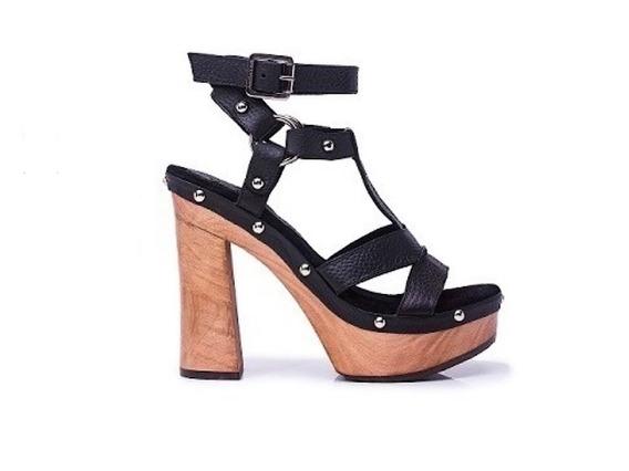 Zapato Mujer Sandalia Alta Natacha Cuero Negro #3993