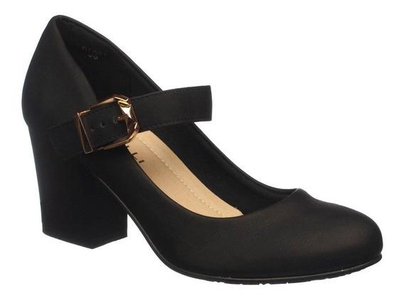 Sapato Feminino Salto Médio Boneca Preto Facinelli - 61901