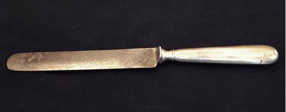 Antiguo Cuchillo De Acero Carbonado, Mango De Alpaca. 24141