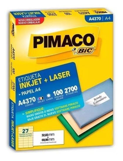 Etiqueta Pimaco A4370 Com 100 Folhas 2700 Unidades