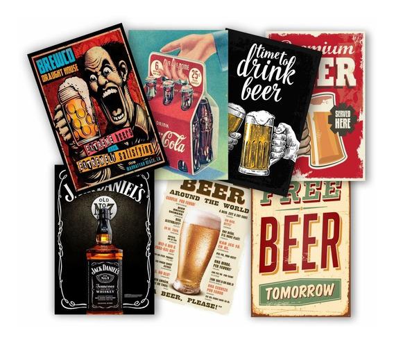 Kit 10 Placas Pvc 20x30 Bar Cerveja Vintage Retro Bebidas