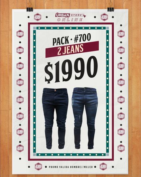 Pack X2 Jean Elastizado Hombre Talles Del S (38) - Xxxl (48)