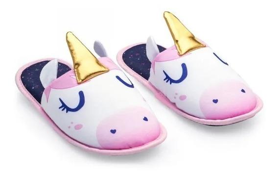 Pantufa Infantil Com Aplique Unicornio
