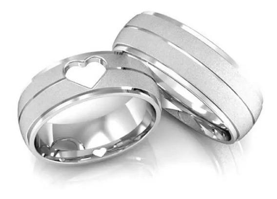 Alianças Prata Coração Vazado Namoro 10gr Maciça Anatômica