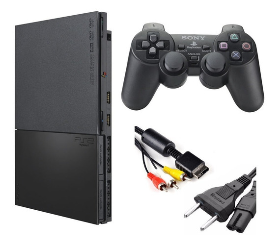 Playstation 2 Slim Ps2 Play2 + 1 Controle + Cabos Energia Av