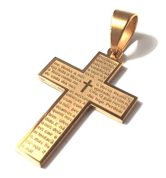 Pingente Crucifixo Cruz Pai Nosso Grande Alto Relevo Banhado