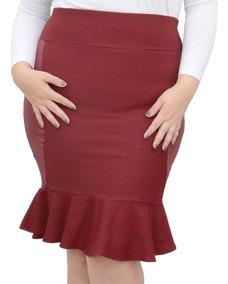 Roupa Feminina Saia Midi Peplum Plus Size Cós Alto +56
