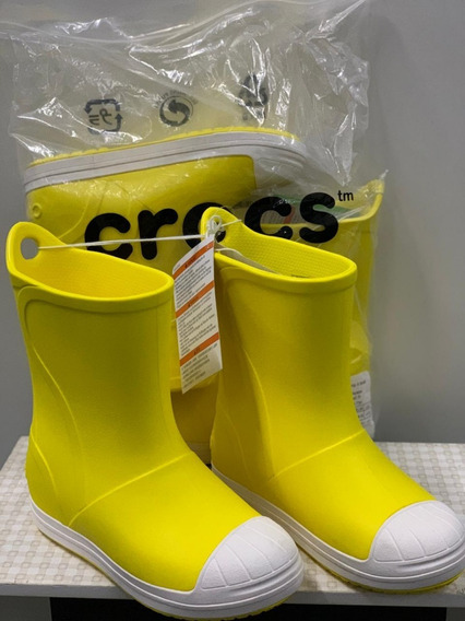 Galocha Crocs Infantil Amarela Original Chuva Inverno