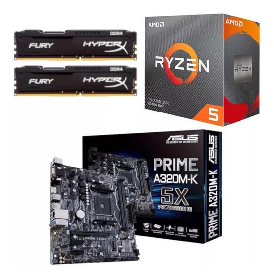 Kit Amd Ryzen R5 3600 + Asus Prime A320m K + Hx 16gb 2666mhz