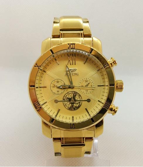 Relógio Masculino Dourado Barato Original Prova D