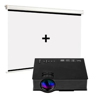 Kit Proyector Uc46 Led 1200 Lumens+pantalla 100 Pulgadas