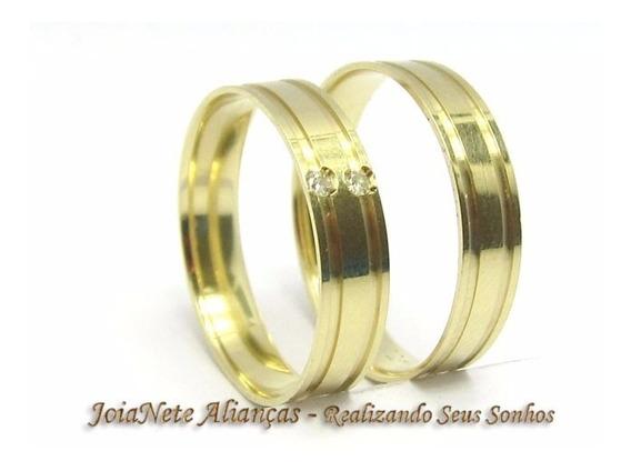 Joianete Aliança Ouro18k Par 5g 2canal 2 Diamante Casamento