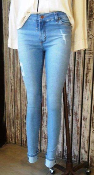 Lote Jeans Mujer Chupin Usados Celeste Y Azul 38 M 2 Combo