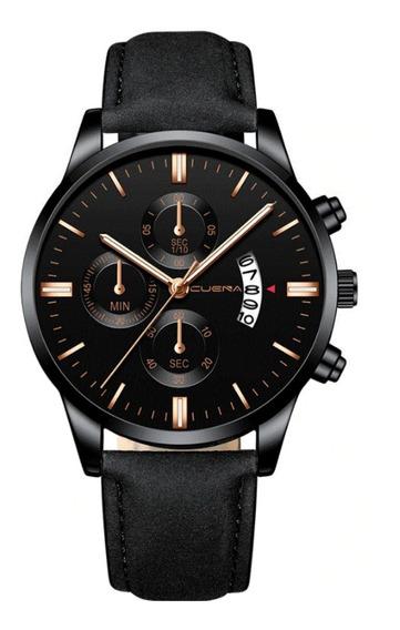 Elegante Reloj Hombre Con Fechador Casual Cuarzo Piel Negro