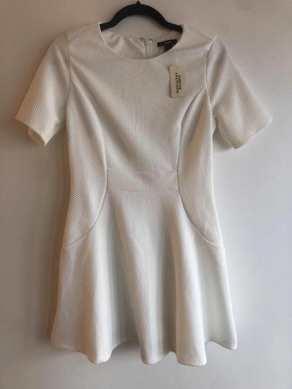 Vestido Forever 21 Blanco Manga Corta Medium Ss