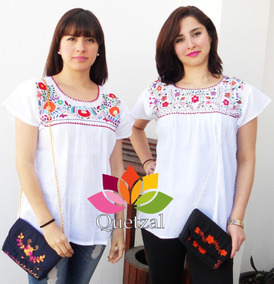 d5b6b74a07 Blusa De Dama Mexicana Artesanal Típica Bordada A Mano · 2 colores