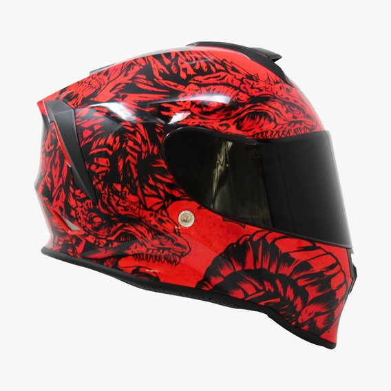 Casco Para Moto Taff Kroon Drako Fire Brillante Rojo