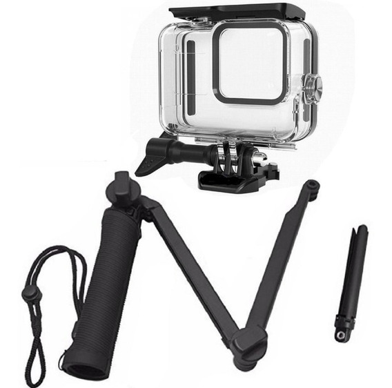 Kit Para Gopro Hero 8 Black Caixa Estanque Tripé 3 Way