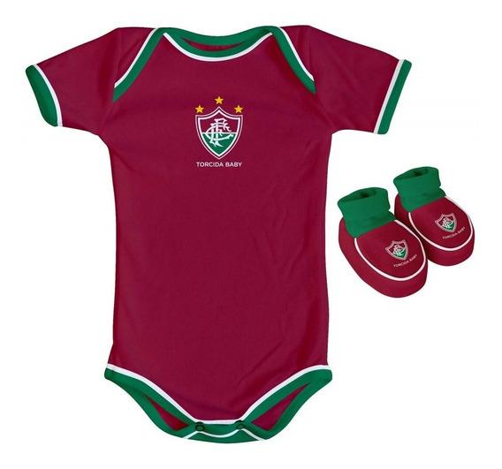 Body Fluminense Bebe + Pantufa Conjunto Oficial