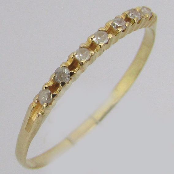 0975 Meia Aliança Ouro 18k 750 7 Diamantes De 2 Pontos