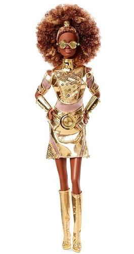 Boneca Barbie Collector Star Wars C-3po Negra Articulada Top