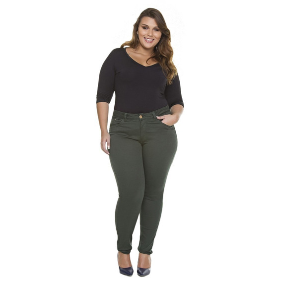 Calça Jeans Moda Plus Size Gordinhas Feminina Cintura Alta