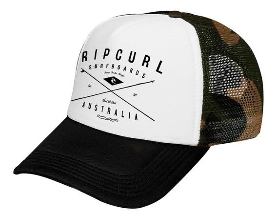 Gorra Trucker Calidad Premium Rip Curl Logo Camuflada