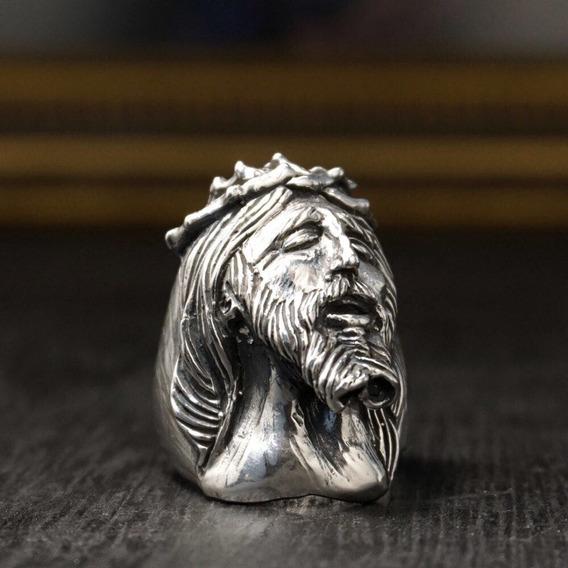 Anel Cristo Em Prata Esterlina 925- Handcraft / Feito À Mão