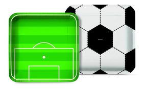8 Prato Quadrado Futebol 18cm Decoração Festas