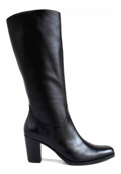 Bota Mujer Cuero Caña Alta Briganti Vestir Negra Mcbo24921