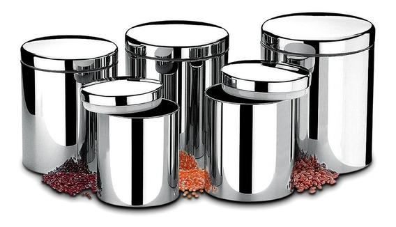 Conjunto Potes C/ Tampa Mantimentos 5 Peças 2100/101 Brinox
