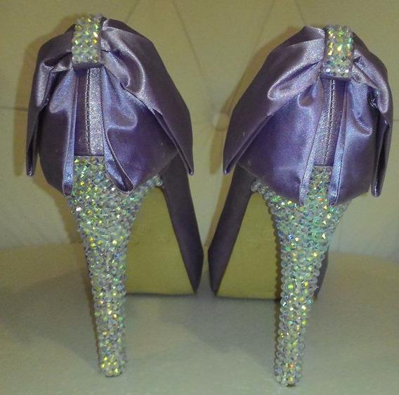 Sapato Luxo Lilás Divalesi Tam. 35 Com Laço E Salto 10cm