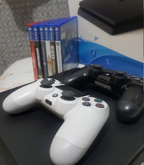Playstation 4 Ps4 Slim 1t + 2 Controles + Jogos