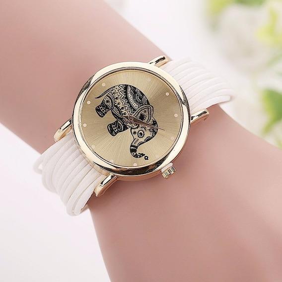 Relógio Feminino Dourado Pulseira De Couro Importado