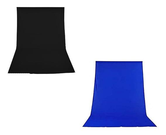 2 Tecido 3x3 Preto/ Azul P/ Suporte Fundo Infinito Estudio