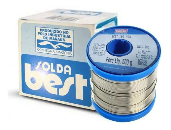 Estanho Solda Best 500gr 60x40 1.5mm Rolo Carretel Azul