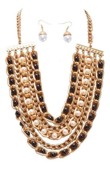 Collar Perlas Negras Y Blancas