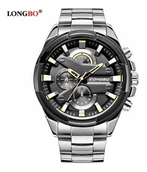 Relógio Longbo Masculino De Luxo Aço Inox A Prova D