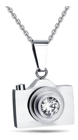 Collar Cámara Fotográfica Reflex Acero Inoxidable Plata