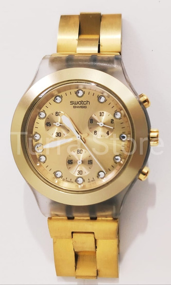 Relógio Swatch Diaphane Irony Dourado - Original / Novo