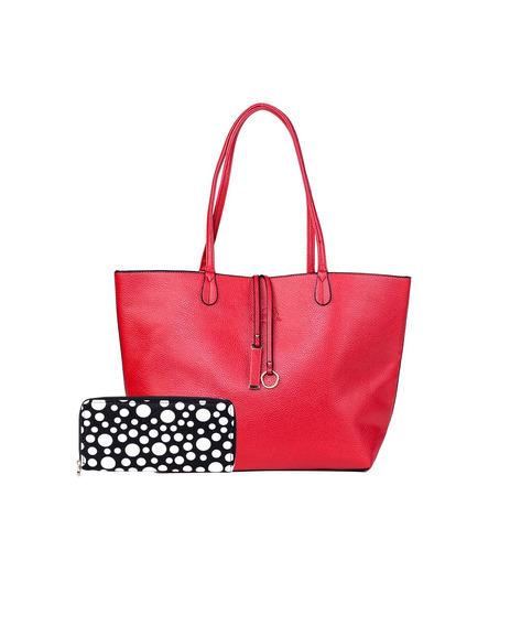 Kit Bolsa Shopper Vermelha + Carteira Oumai