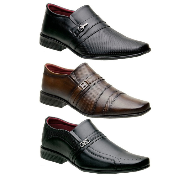 Kit 3 Sapatos Social Masculino Promoção