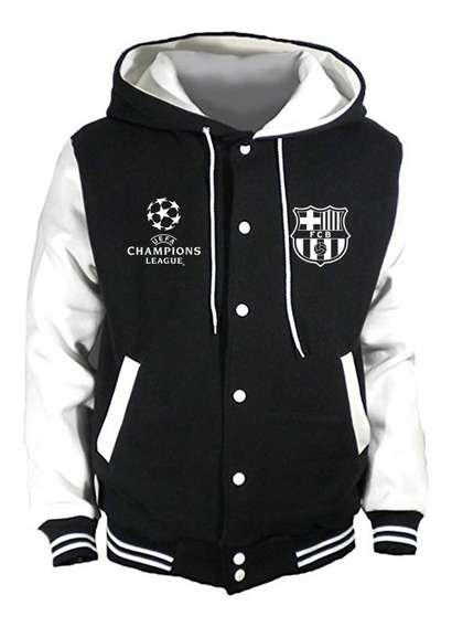 Chaqueta Tipo Universitaria Barcelona F.c Estampado Uefa