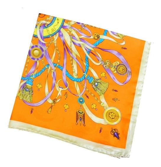 Lenço De Seda Pura Orange 56x56