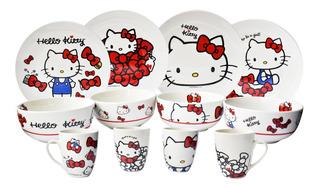 Juego Vajilla De Porcelana Hello Kitty Colección 12 Piezas