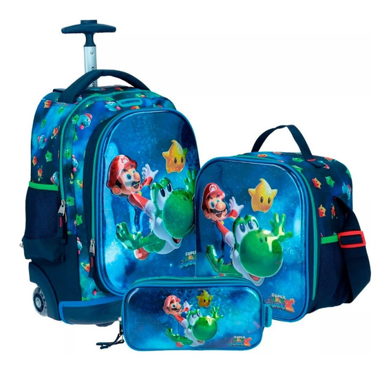 Kit Mochila Con Ruedas Led Chenson Mario Bros Galaxy 2019