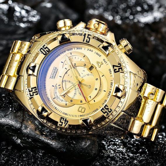 Relogio Estilo Invicta Dourado Luxo A Prova D Água Temeite
